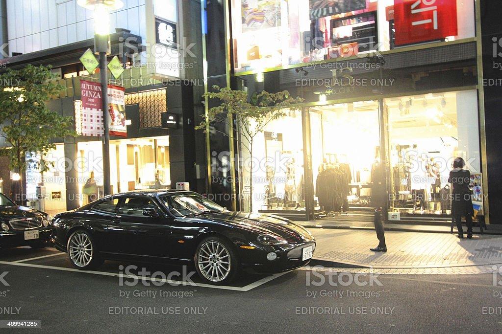 Jaguar XK on the streets of Tokyo stock photo