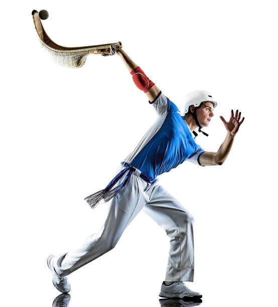Jai alai Basque pelota  Cesta Punta player man isolated silhouette stock photo