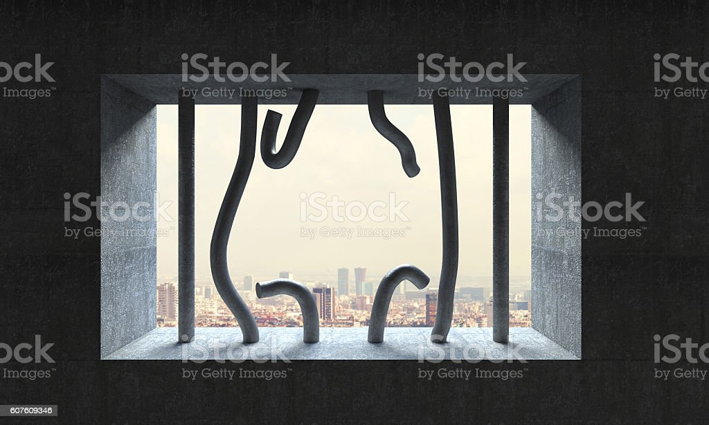 jail bar and urban  background stock photo
