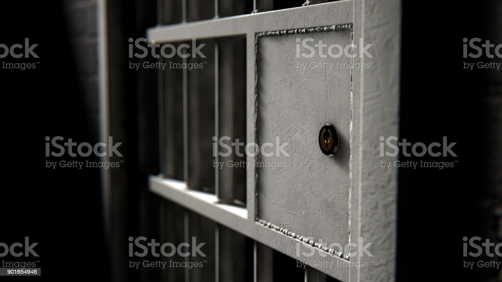 Jail Cell Door And Welded Iron Bars stock photo