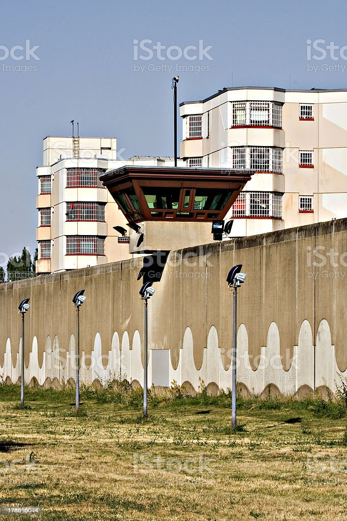 jail watch tower jailhouse in background 3 royalty-free stock photo
