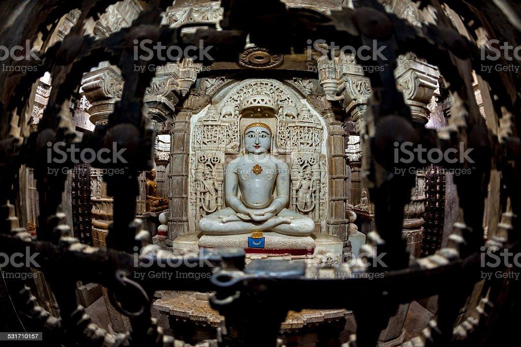 jain buddha statue in jaisalmer, india stock photo