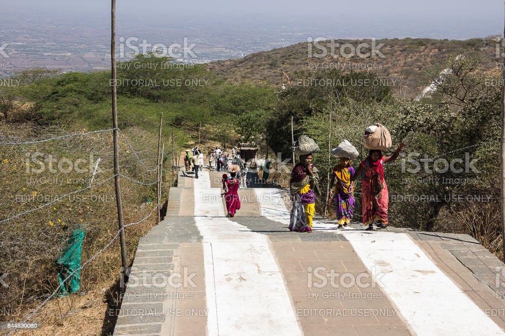 Jain pilgrims at Mt Shatrunjaya stock photo