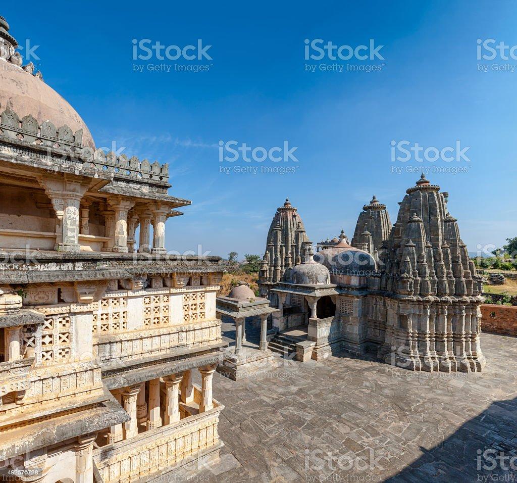 Jain Temple in the Kumbhalgarh fort, Rajasthan, India stock photo