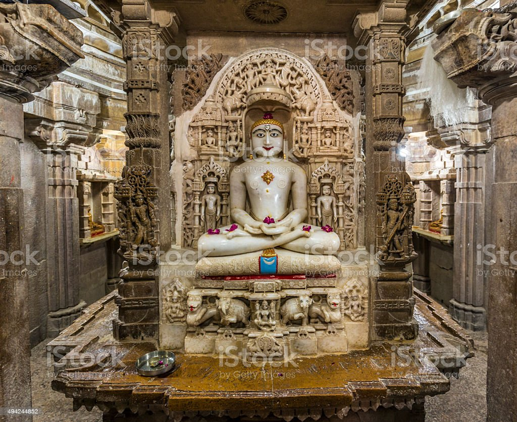 Jain temple Mahavira in Jaisalmer India stock photo