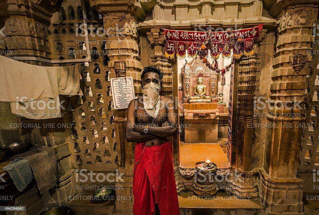 Jain temples complex in Jaisalmer Rajasthan India stock photo