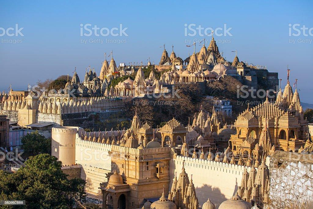 Jain temples on top of Shatrunjaya hill, Palitana, India stock photo