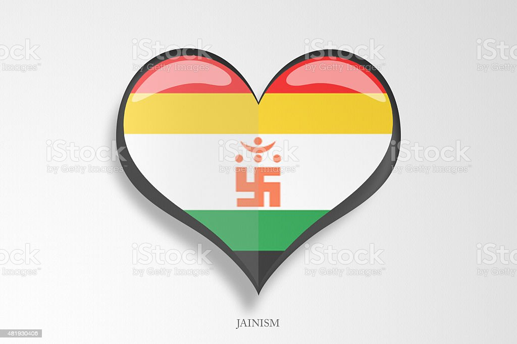 Jainism Religious Flag Heart Shape Stock Photo More Pictures Of