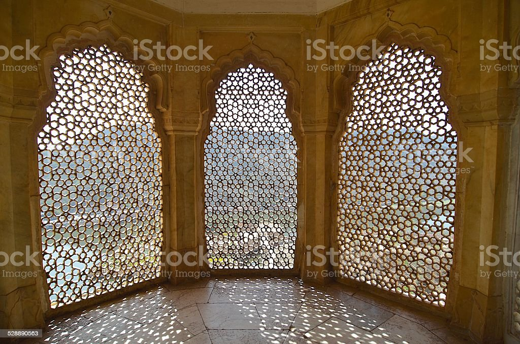 Jaipur, India - Amer Fort (Amber Fort) window with beautiful pattern - Royalty-free Amber Stock Photo
