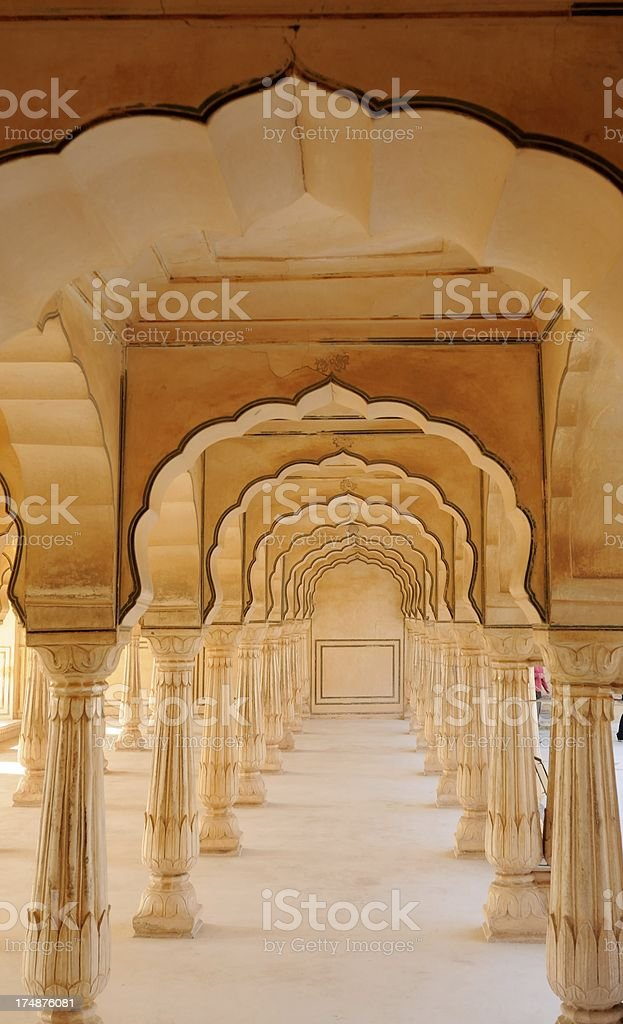 Jaipur, India--Scalloped arches in Amber Palace royalty-free stock photo