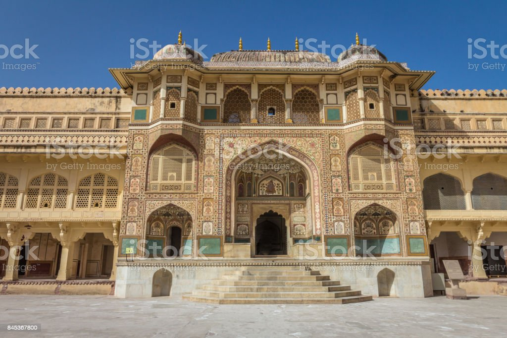 Jaipur palace in Amber Fort stock photo