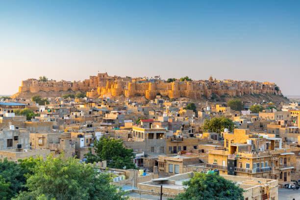Jaisalmer Fort at sunrise, Rajasthan, India stock photo