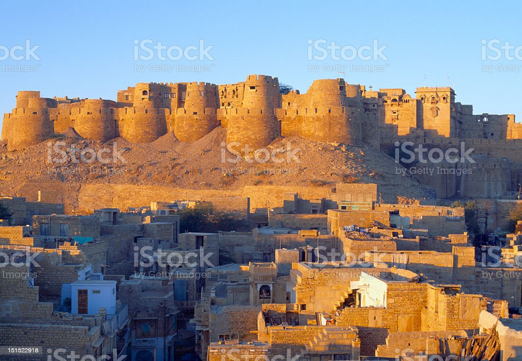 Jaisalmer Fort panorama at sunset, Rajasthan, India stock photo