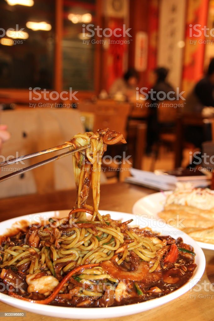 Jajangmyeon, Korean black bean sauce noodles stock photo