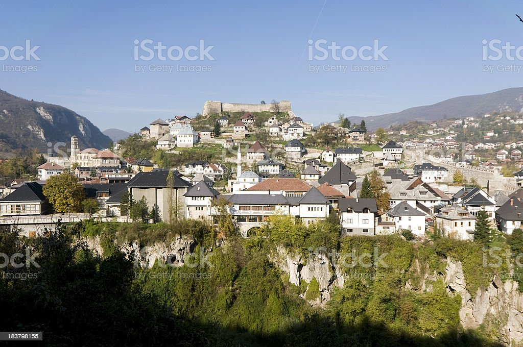 Jajce cityscape stock photo