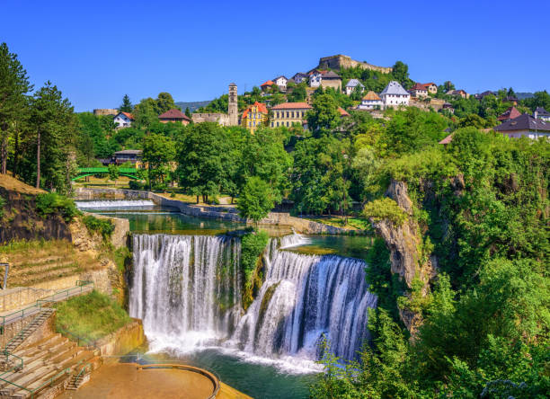 Jajce town and Pliva Waterfall, Bosnia and Herzegovina Jajce town in Bosnia and Herzegovina, famous for the beautiful Pliva waterfall former yugoslavia stock pictures, royalty-free photos & images
