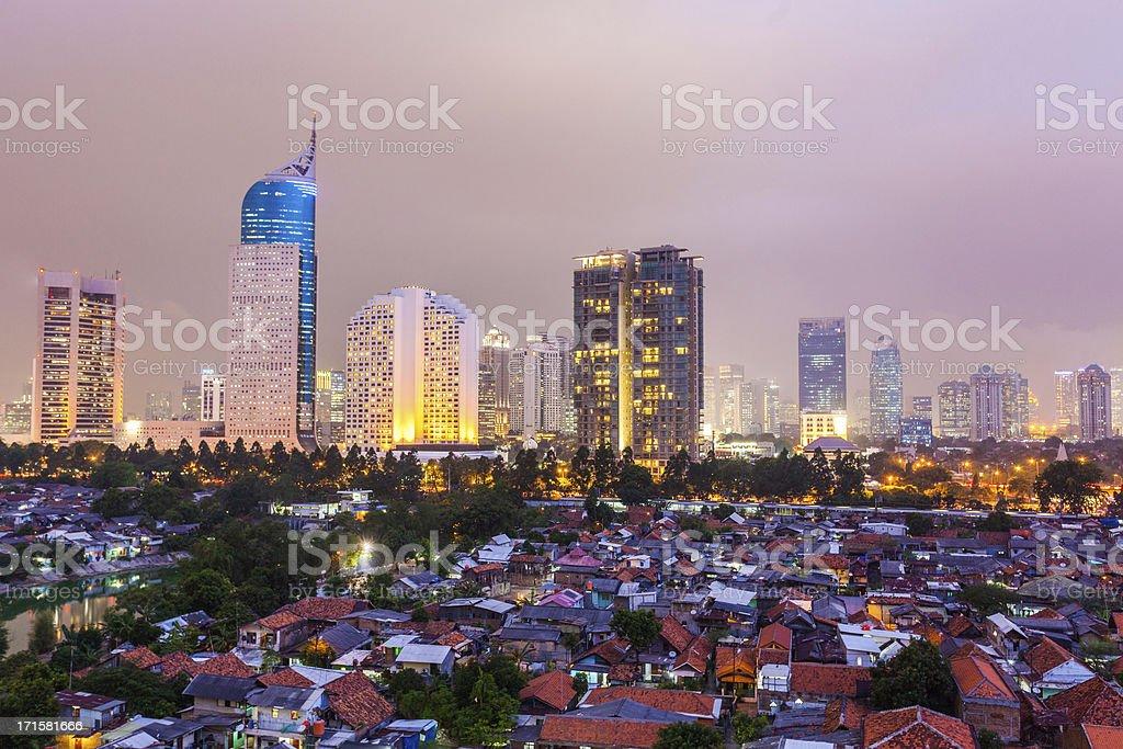 Jakarta by Night, Indonesia stock photo