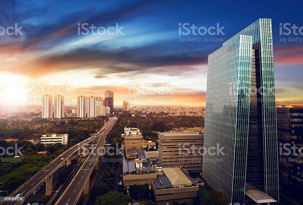 Jakarta city at night stock photo