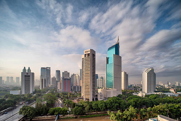 Jakarta City Its a nice sunrise picture of Jakarta City. indonesia stock pictures, royalty-free photos & images