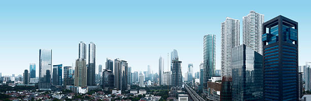 Jakarta City Building and traffic of Jakarta city, Indonesia southeast asia stock pictures, royalty-free photos & images