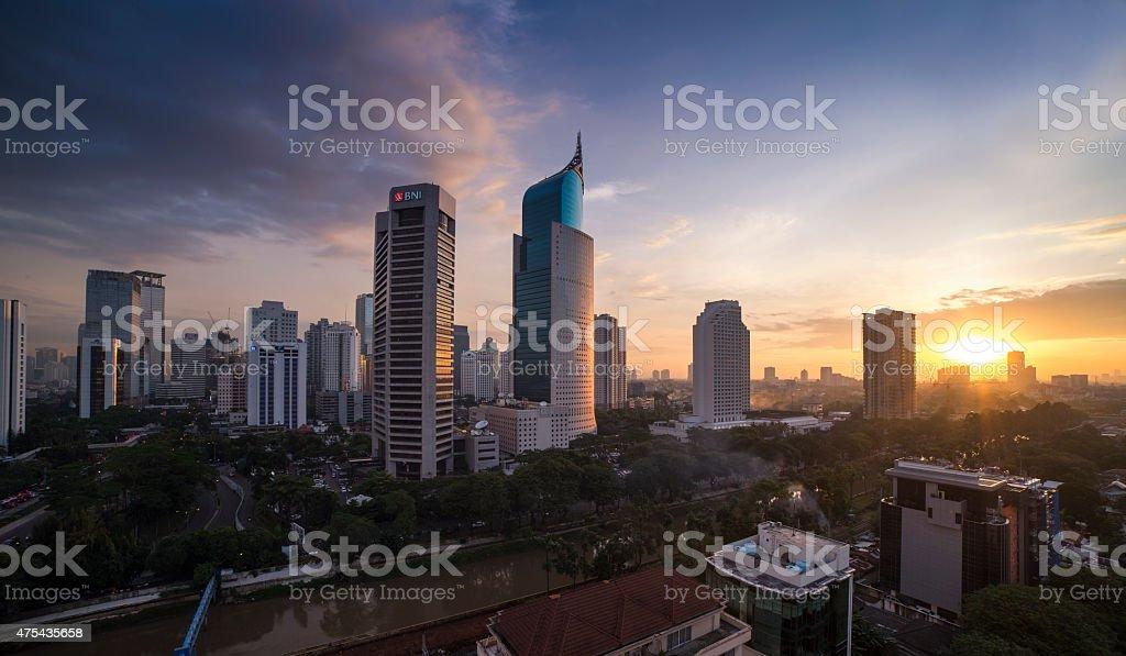 Jakarta City Skyline Indonesia stock photo