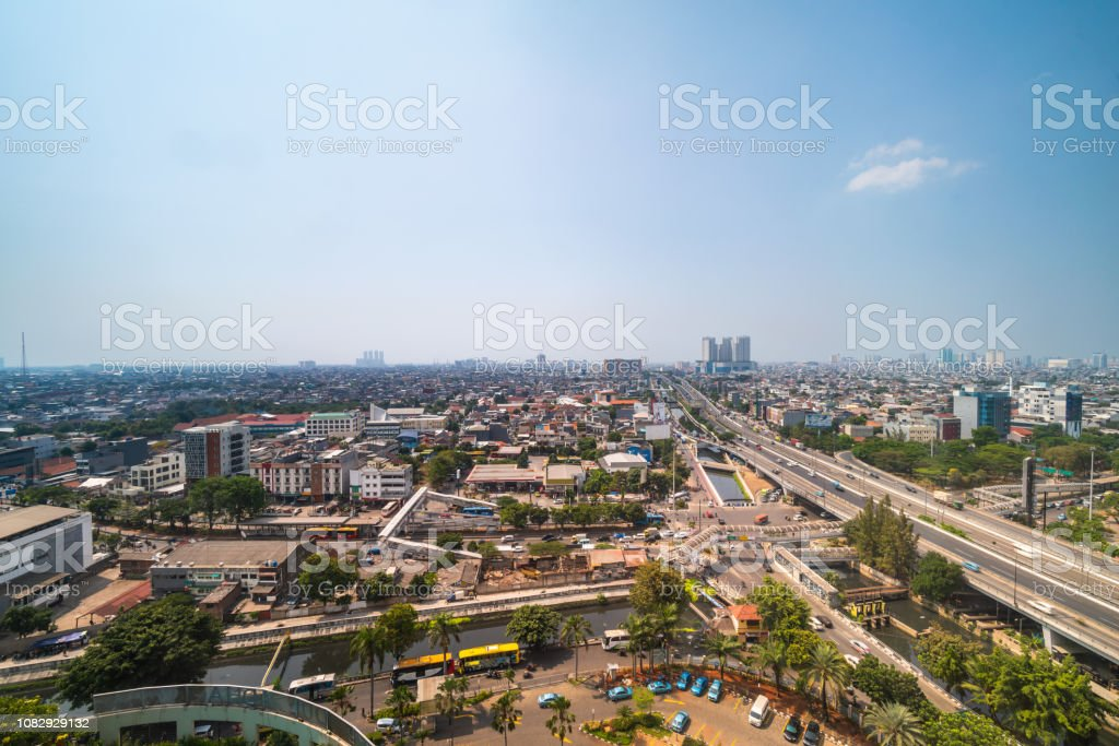 Jakarta flyover highway and Bus Rapid transit, Indonesia Jakarta, Indonesia - August 20, 2018: view showing Jakarta flyover highway and Bus Rapid transit 2010-2019 Stock Photo