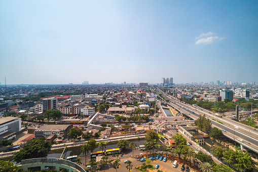 Jakarta Flyover Highway And Bus Rapid Transit Indonesia Stock Photo - Download Image Now