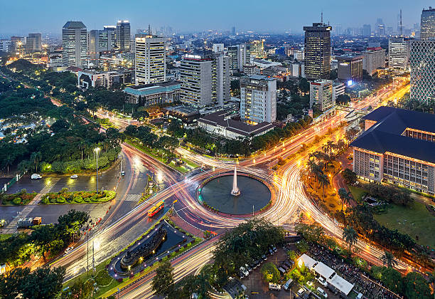 jakarta intersection - indonesia stock photos and pictures