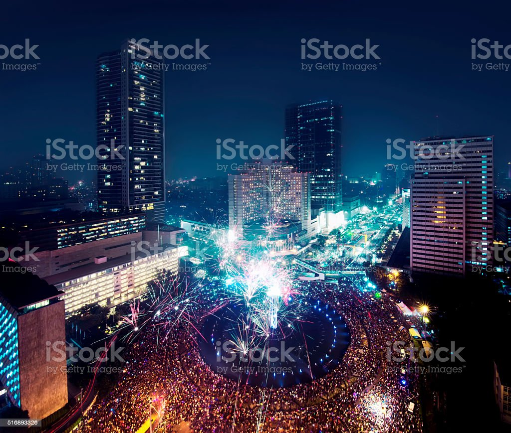 Jakarta New Year Eve stock photo