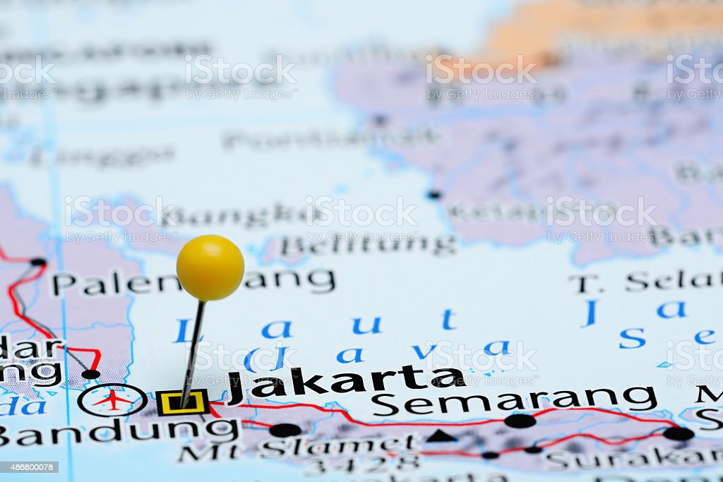 Map Of Asia Jakarta.Jakarta Pinned On A Map Of Asia Stock Photo More Pictures Of 2015