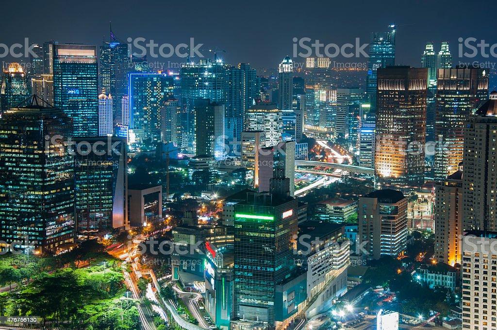 Jakarta Skyscraper at night stock photo