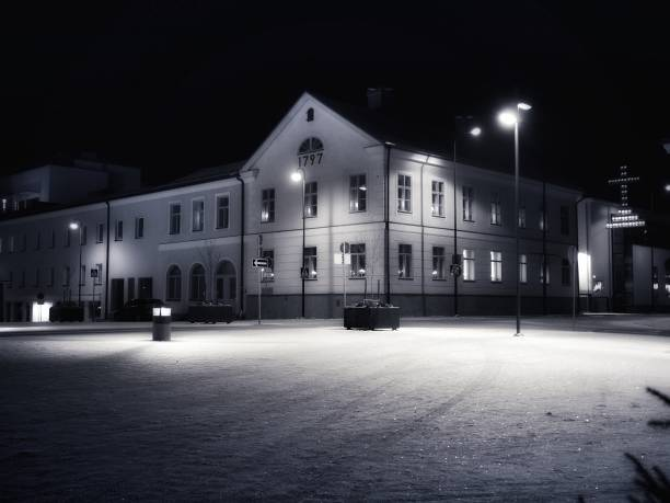 jakobstad - nightview - malin strandvall bildbanksfoton och bilder