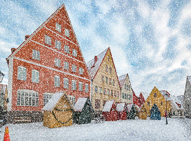 jakriborg in heavy snow - lund stock photos and pictures