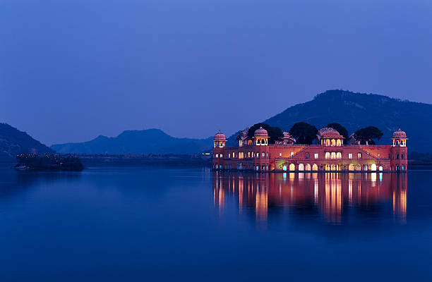 Jal Mahal, Jaipur at blue hour One of the hot spot of Jaipur, the Lake Palace. Wonderfully light at the end of the day udaipur stock pictures, royalty-free photos & images