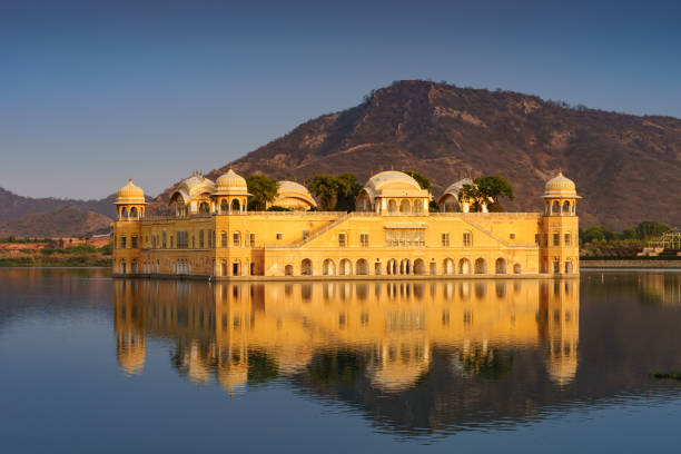 Jal Mahal, The water palace in Jaipur, Rajasthan, India. Jal mahal is a five storied building was built in man sakar lake,three or four floors remain underwater depend on water level. udaipur stock pictures, royalty-free photos & images