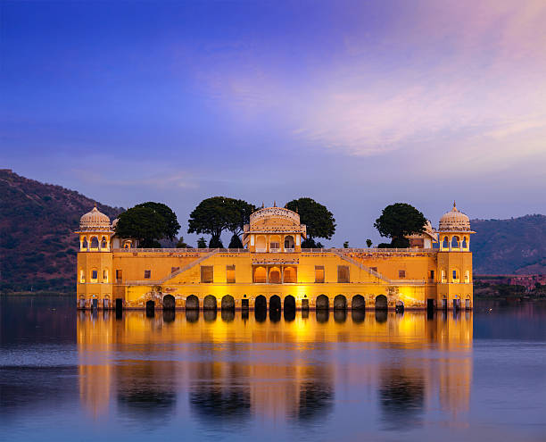 Jal Mahal Water Palace. Jaipur, Rajasthan, India Rajasthan landmark - Jal Mahal Water Palace on Man Sagar Lake in the evening in twilight. Jaipur, Rajasthan, India udaipur stock pictures, royalty-free photos & images