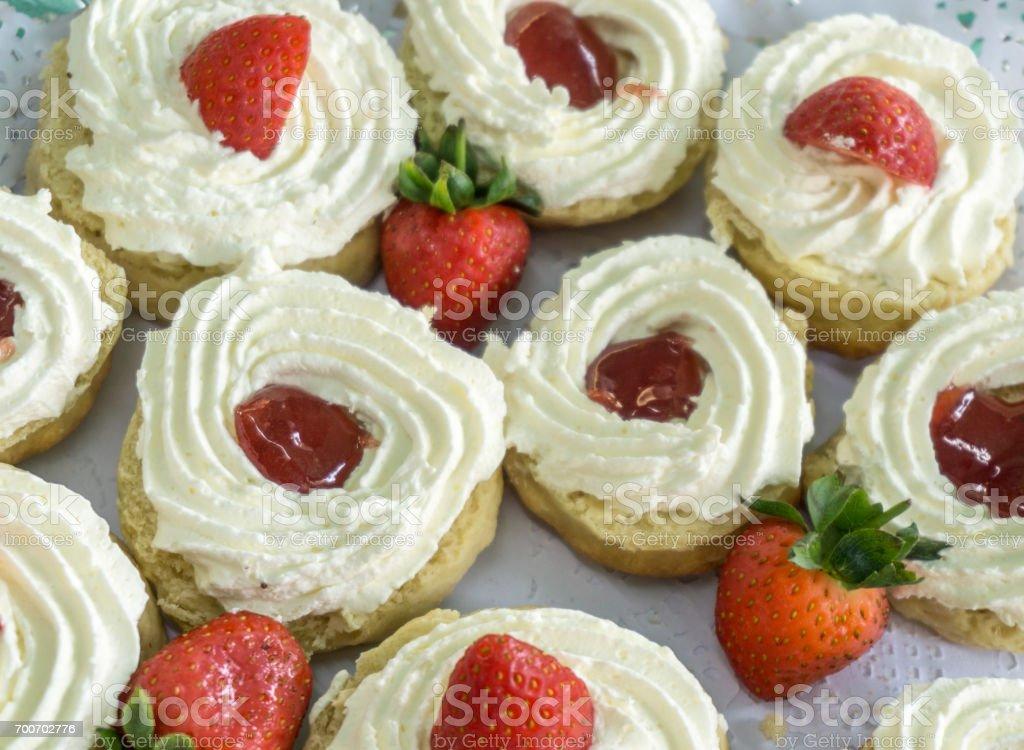 jam and cream scones stock photo