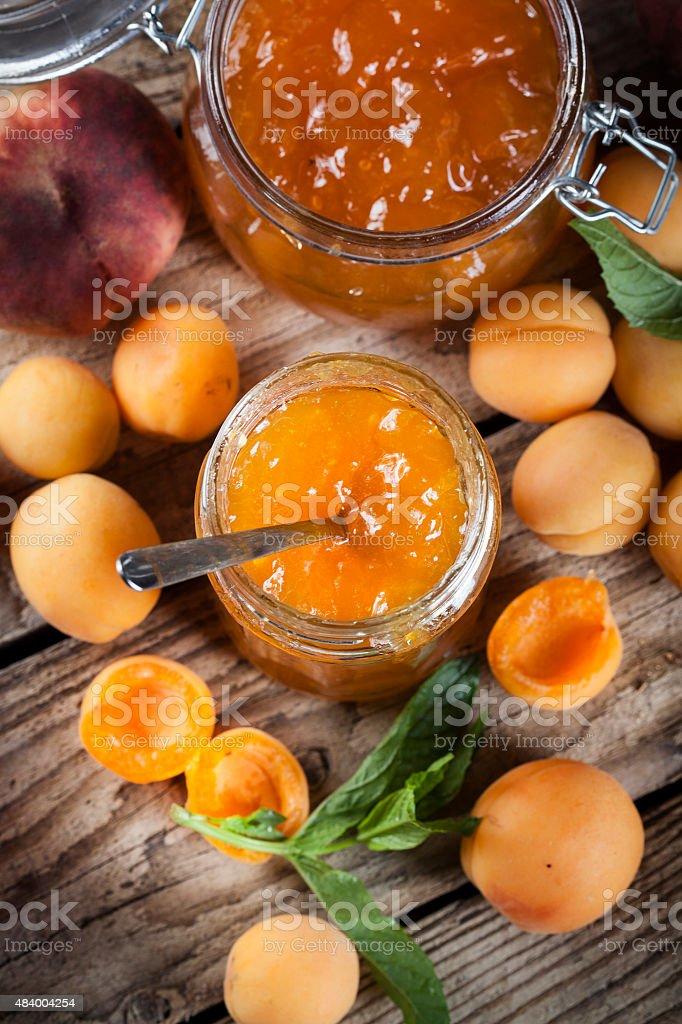 Jam apricot peaches mint leaves stock photo