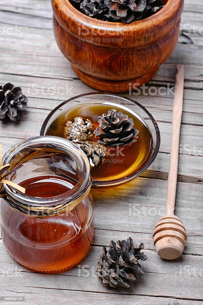 jam from the young fir cones stock photo