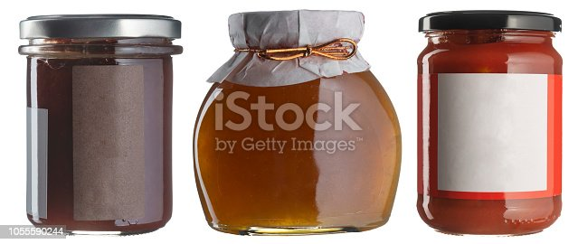 Jam jar set with blank labels isolated on white. Fruit preserves