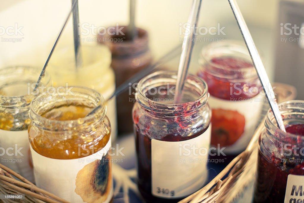 Jam Jars in a basket stock photo