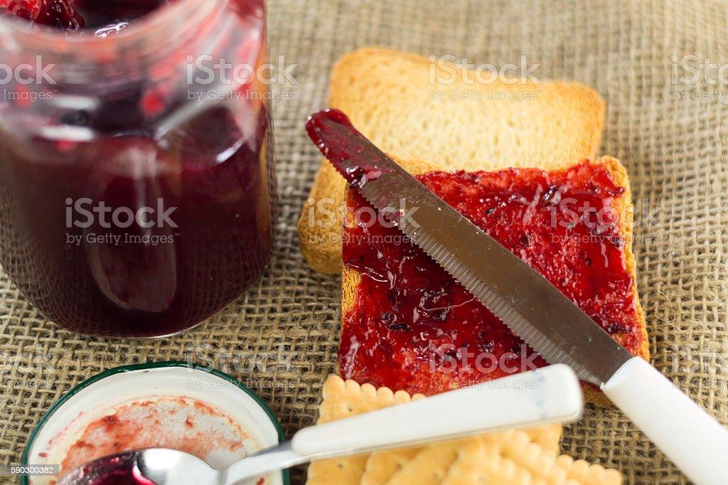 jam made by hand, with toasted bread, Italian breakfast royaltyfri bildbanksbilder