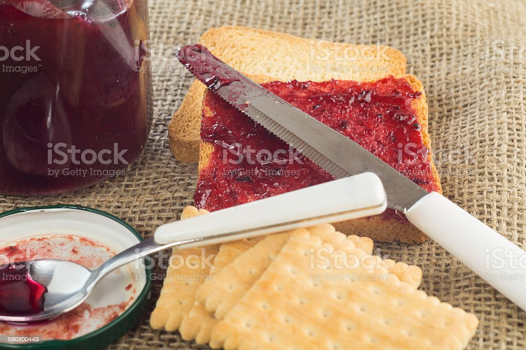 jam made by hand, with toasted bread, Italian breakfast royaltyfri bildbanksbilder