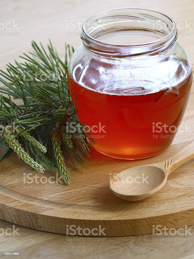 Jam of pine buds stock photo