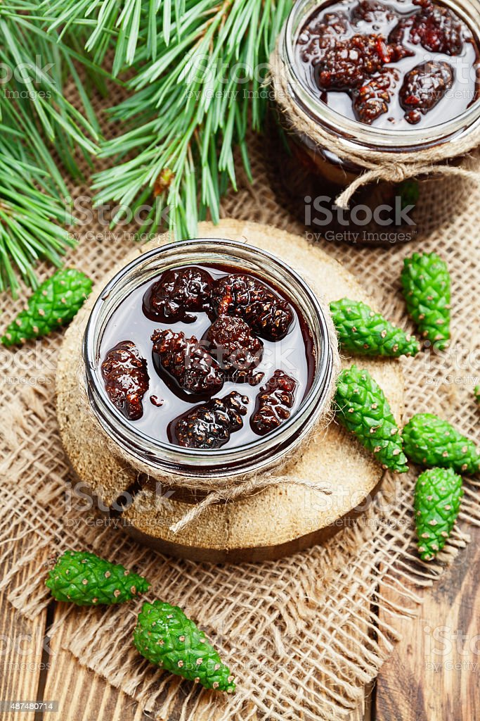 Jam of pine cones stock photo