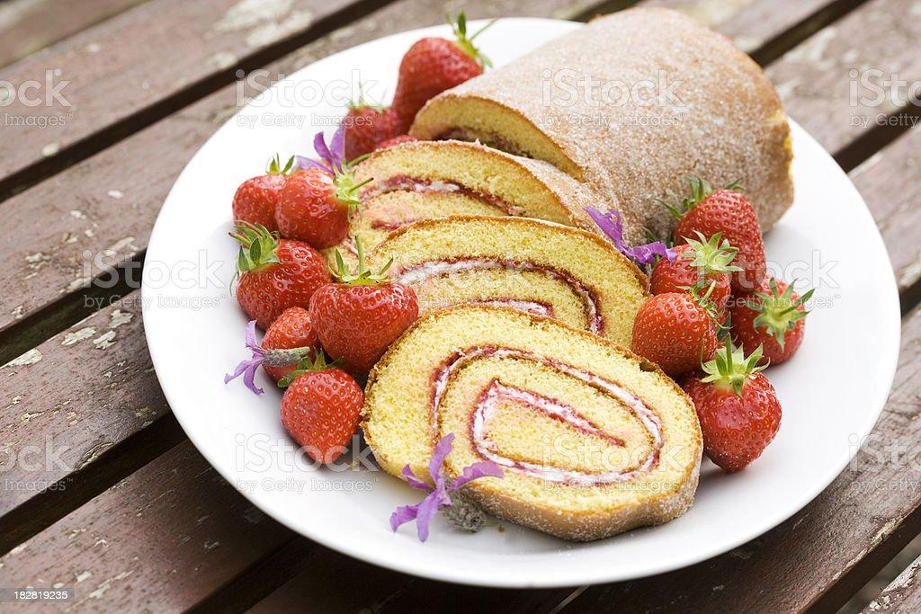 jam roll strawberry stock photo