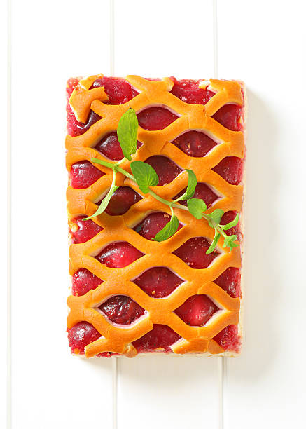 Jam tart with a lattice top crust stock photo