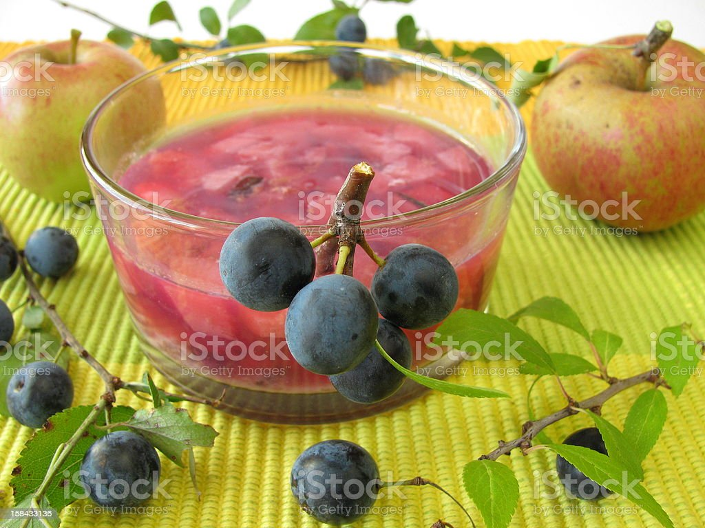 Jam with sloe fruits and apples royalty-free stock photo
