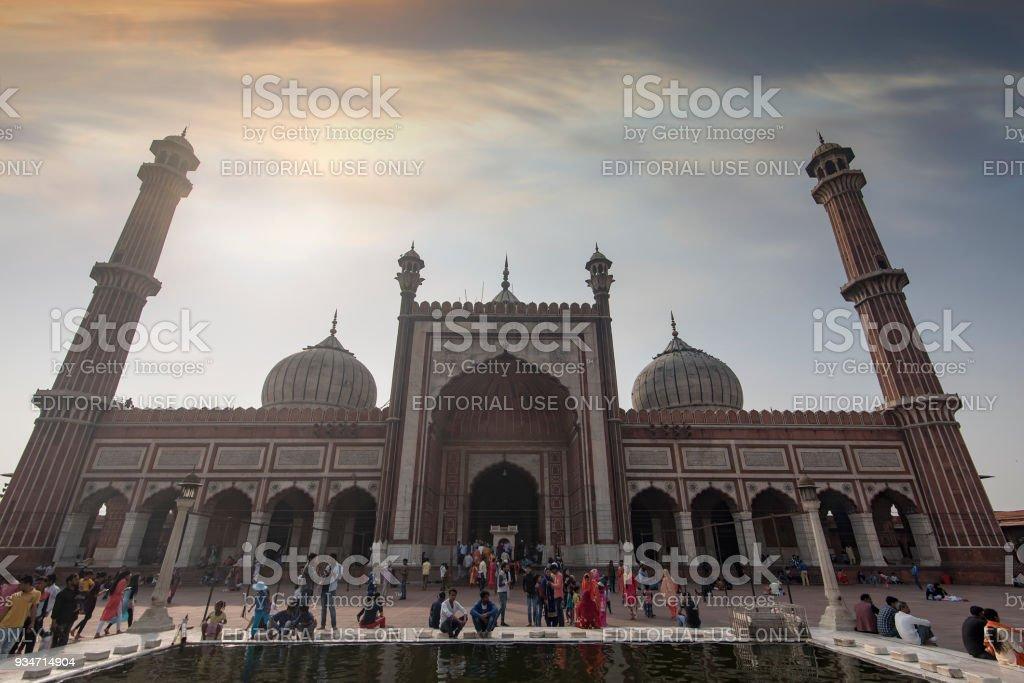 Jama Masjid and people in New Delhi stock photo