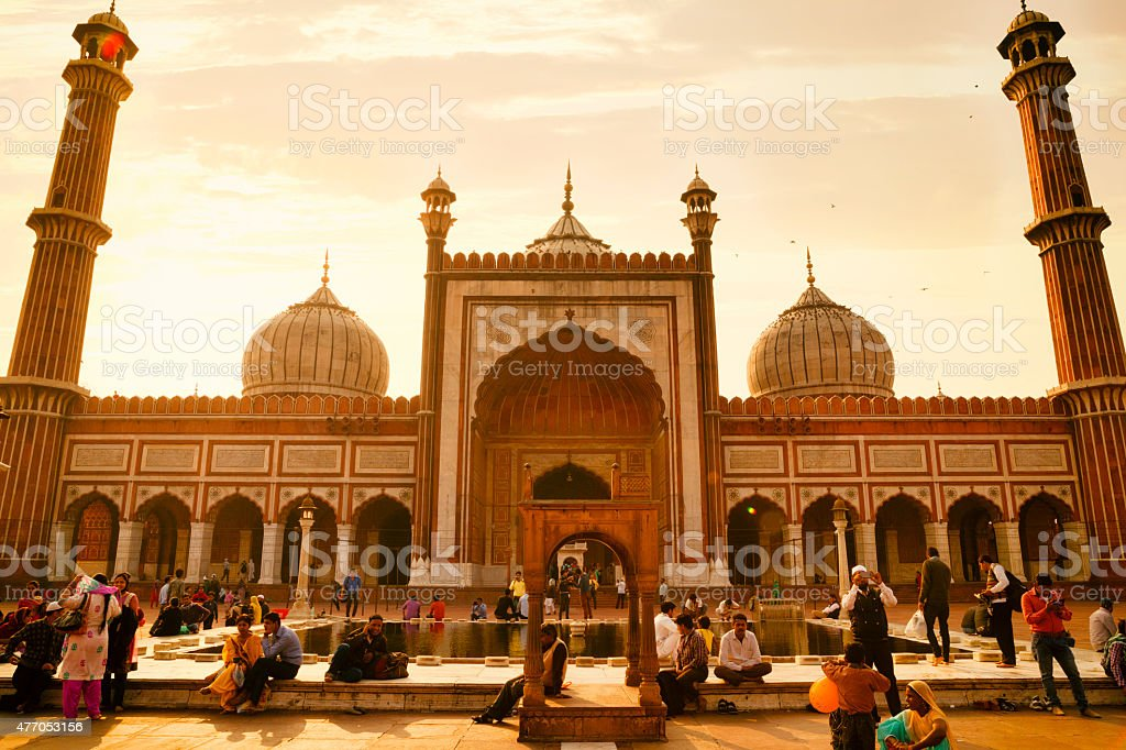 Jama Masjid Mosque at Sunset in Old Delhi, India stock photo